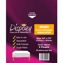 "22 Jumbo Pack Dispozy Micro Tablecloths (54"" x 72)"