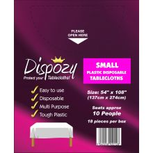 "18 Jumbo Pack Dispozy Small Tablecloths (54"" x 108)"