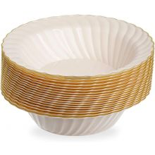 18 Sea Shell with Gold Rim 6 oz Hard Plastic Small Bowls
