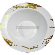 10 White & Gold Hard Plastic Soup Bowls