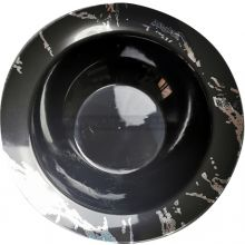 10 Black & Silver Hard Plastic Small 5 oz Bowls