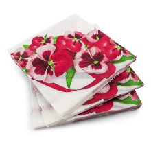 20 3 Ply Pink & White Flower Napkins