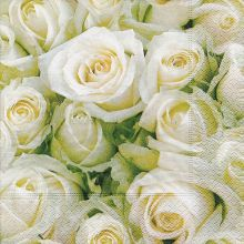20 3ply White Rose Napkins