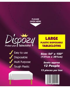 "13 Jumbo Pack Dispozy Large Tablecloths (54"" x 150)"