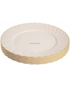 "18 Sea Shell with Gold Rim 9"" Hard Plastic Plates"