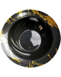 10 Black & Gold Hard Plastic Soup Bowls