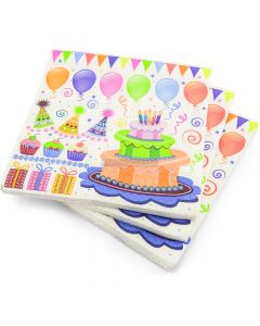 20 3ply Party Cake Napkins