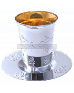 5 Silver Plastic Kiddush Cups