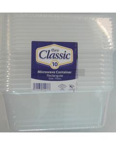 10 x 750cc Microwave Rectangular Containers