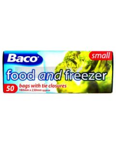 Baco 50 Small Freezer Bags with Ties