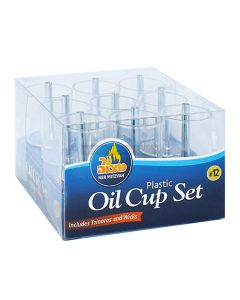 Set 9 Medium Plastic Cups for Oil Menorsh with Zinores & Wicks