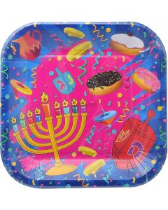 "10 Small 7"" Chanukah Paper Plates"